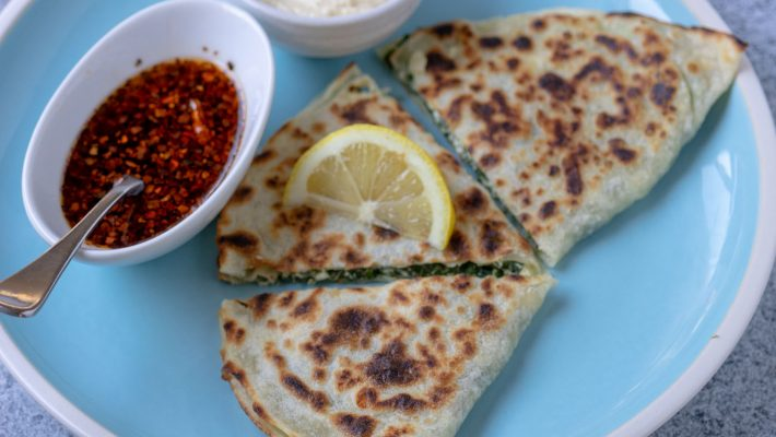 Cheesy Spinach Rotis, with Chilli Oil